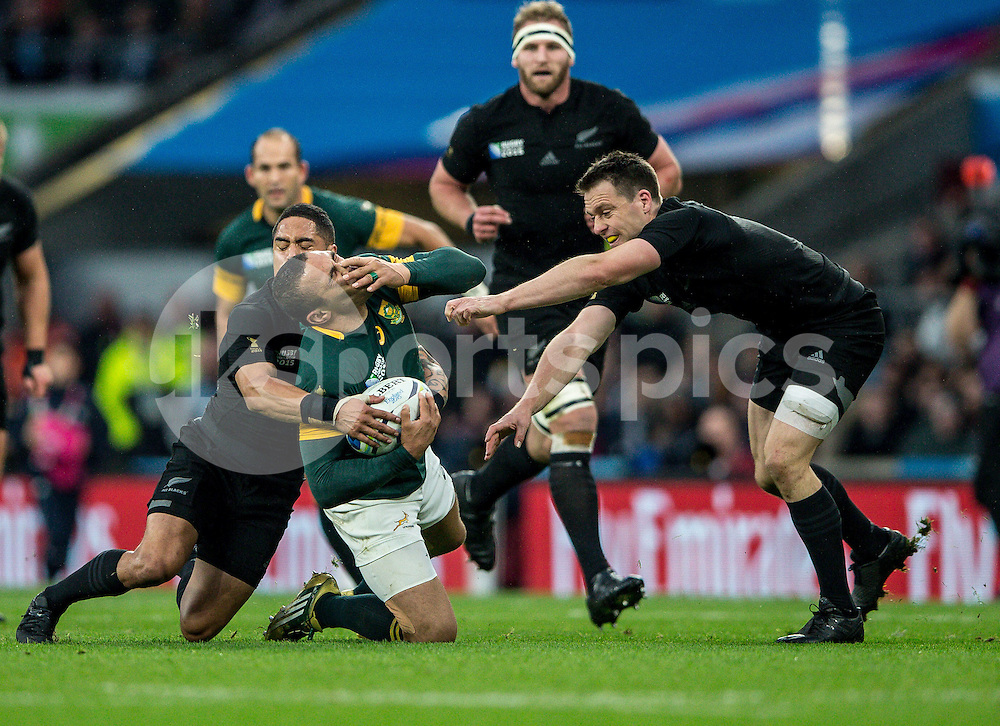 Brian Habana of South Africa during the Rugby World Cup Semi Final match between South Africa and New Zealand played at Twickenham Stadium, London on the 24th of October 2015. Photo by Liam McAvoy