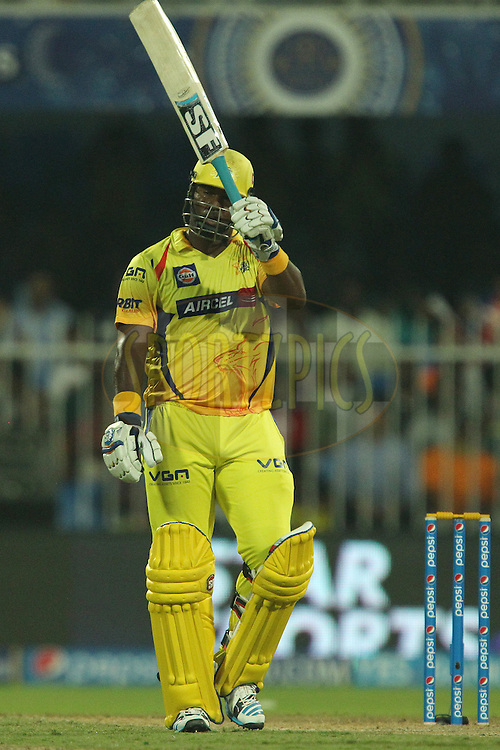 Dwayne Smith of The Chennai Superkings celebrates his fifty during match 17 of the Pepsi Indian Premier League 2014 between the Sunrisers Hyderabad and the Chennai Superkings held at the Sharjah Cricket Stadium, Sharjah, United Arab Emirates on the 27th April 2014<br /> <br /> Photo by Ron Gaunt / IPL / SPORTZPICS