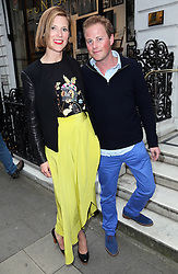 Image licensed to i-Images Picture Agency. 16/06/2014. Guy Pelly and wife Lizzy arriving for the launch of a Gregory Peck exhibition at the Huntsman tailors in Savile Row, London, to celebrate five decades of dressing the Hollywood actor. Picture by Stephen Lock / i-Images