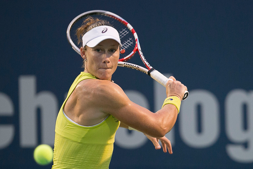 August 22, 2014, New Haven, CT:<br /> Samantha Stosur hits a backhand during the semi-final match against Petra Kvitova on day eight of the 2014 Connecticut Open at the Yale University Tennis Center in New Haven, Connecticut Friday, August 22, 2014.<br /> (Photo by Billie Weiss/Connecticut Open)