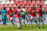 UTRECHT - 28-05-2017, FC Utrecht - AZ, Stadion Galgenwaard, FC Utrecht speler Sebastien Haller (2vr) heeft de 2-0 gescoord, FC Utrecht speler Wout Brama (m).