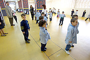 LEBANON, BEIRUT:  Five-year-olds exercising with their kindergarten class in a Beirut school.
