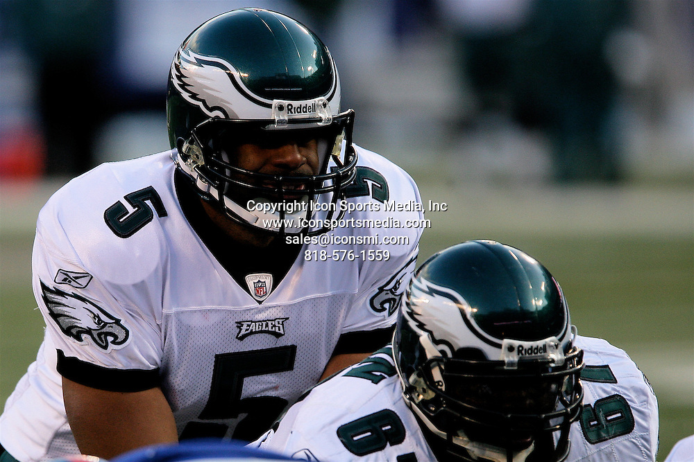 January 11, 2009: Philadelphia Eagles quarterback Donovan McNabb (5) under center during the Philadelphia Eagles 23-10 victory over the New York Giants in their NFC Divisional game at Giants Stadium in East Rutherford, NJ.