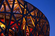 Beijing's National Stadium, nicknamed the 'Bird's nest' is seen at dusk, during Beijing Paralympics, on September 10, 2008, in Beijing, China. Photo by Lucas Schifres/Pictobank