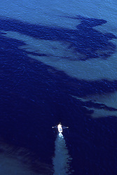 Stock photo of an oil skimmer boat collecting spilled oil from the July 28,1990 collision of the Apex Barges and the Greek Tank vessel Shinoussa in Galveston Bay,Texas.