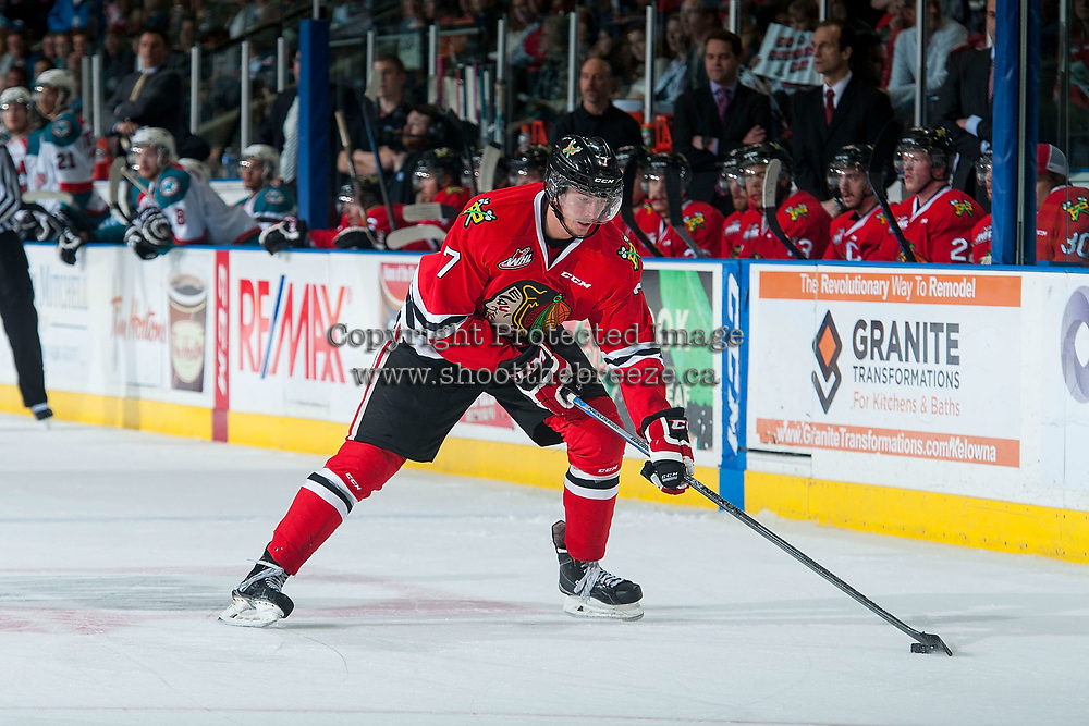 KELOWNA, CANADA - MAY 1: Paul Bittner #7 of Portland Winterhawks skates with the puck against the Kelowna Rockets on May 1, 2015 at Prospera Place in Kelowna, British Columbia, Canada.  (Photo by Marissa Baecker/Getty Images)  *** Local Caption *** Paul Bittner;