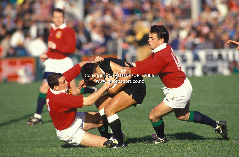 NZ Maori fullback Sam Doyle is tackled during the 1993 British and Irish Lions tour to New Zealand. Photo: PHOTOSPORT<br /> New Zealand Maori v British &amp; Irish Lions at Wellington, 29 May 1993.
