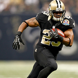 December 16, 2012; New Orleans, LA, USA;New Orleans Saints running back Pierre Thomas (23) against the Tampa Bay Buccaneers during the first quarter of a game at the Mercedes-Benz Superdome. The Saints defeated the Buccaneers 41-0. Mandatory Credit: Derick E. Hingle-USA TODAY Sports
