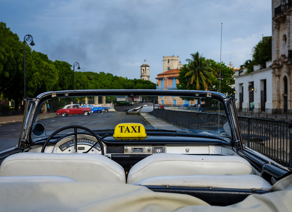 HAVANA, CUBA - CIRCA MAY 2017:  Dashboard of Classic Ford Fairline car parked in the streets of Havana.