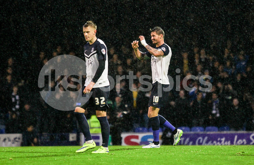 Barry Corr of Southend United comes close to scoring during the Sky Bet League 2 Play-Off 2nd leg match between Southend United and Stevenage at Roots Hall, Southend, England on 14 May 2015. Photo by Ken Sparks.