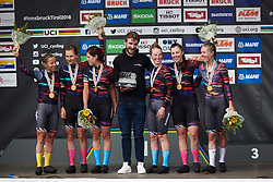 CANYON//SRAM Racing celebrate the victory at UCI Road World Championships 2018 - Women's Team Time Trial, a 54 km team time trial in Innsbruck, Austria on September 23, 2018. Photo by Sean Robinson/velofocus.com