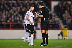 February 25, 2019 - Nottingham, England, United Kingdom - Referee Robert Jones has words with Derby County forward Jack Marriott (14) during the Sky Bet Championship match between Nottingham Forest and Derby County at the City Ground, Nottingham on Monday 25th February 2019. (Credit Image: © Mi News/NurPhoto via ZUMA Press)