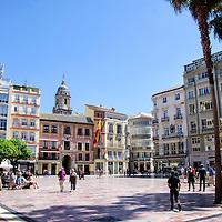 Plaza de la Constitución, se trata de la antigua Plaza Mayor, situada en el corazón del centro histórico de la ciudad, que desde el siglo XV ha sido el espacio público y político de la ciudad por excelencia. Málaga, Andalucia. España