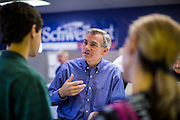 02 JUNE 2012 - PHOENIX, AZ:   Congressman DAVID SCHWEIKERT (R-AZ) talks to potential campaign volunteers Saturday. Schweikert met with his campaign staff and volunteers for a pancake breakfast Saturday morning at the campaign headquarters to talk to them about the upcoming primary election against fellow Republican Ben Quayle. Republican incumbents Schweikert and Quayle will face each other in Arizona's Aug. 28 primary election. Redistricting because of the census has thrown the two conservative freshman Republican Congressmen into Arizona's 6th Congressional District. The district is made up of mostly upper middle class neighborhoods in north Phoenix and the wealthy suburban communities of Scottsdale, Fountain Hills and Cave Creek. The District is strongly Republican and whoever wins the Republican primary is expected to easily win November's general election.       PHOTO BY JACK KURTZ