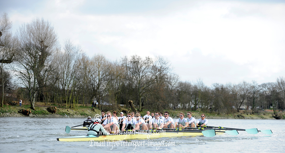Putney, GREAT BRITAIN,  Cambridge on the Middlx station in action 2010  Varsity/ Boat Race, Cambridge University vs Molesey BC, raced over the championship course. Putney to Mortlake, Sunday  21/03/2010. [Mandatory Credit, Peter Spurrier/Intersport-images]..CUBC. Crew, Bow Rob WEITMEYER, Geoff ROTH, Derek RASMUSSEN, Peter McCLLELLAND, Deaglan McEACHERN, Henry PELLY, George NASH, Fred GILL and Cox Red RANDOLPH.