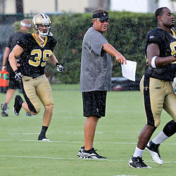 August 9, 2011; Metairie, LA, USA; New Orleans Saints defensive coordinator Gregg Williams directs players in a rain storm during training camp practice at the New Orleans Saints practice facility. Mandatory Credit: Derick E. Hingle