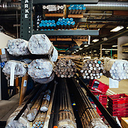 Raw material in the Fox Racing machine shop in Scotts Valley, California.