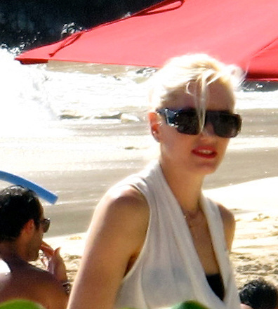 Gwen Stefanie and Gavin Rossdale..On the Beach..St Barth, Caribbean..Saturday, January 02, 2010..Photo By Celebrityvibe.com.To license this image please call (212) 410 5354; or Email: celebrityvibe@gmail.com ; .website: www.celebrityvibe.com.