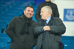 LIVERPOOL, ENGLAND - Tuesday, December 13, 2016: Everton's Under-23 coach David Unsworth and former manager Joe Royle share a joke before the FA Premier League match against Arsenal at Goodison Park. (Pic by David Rawcliffe/Propaganda)