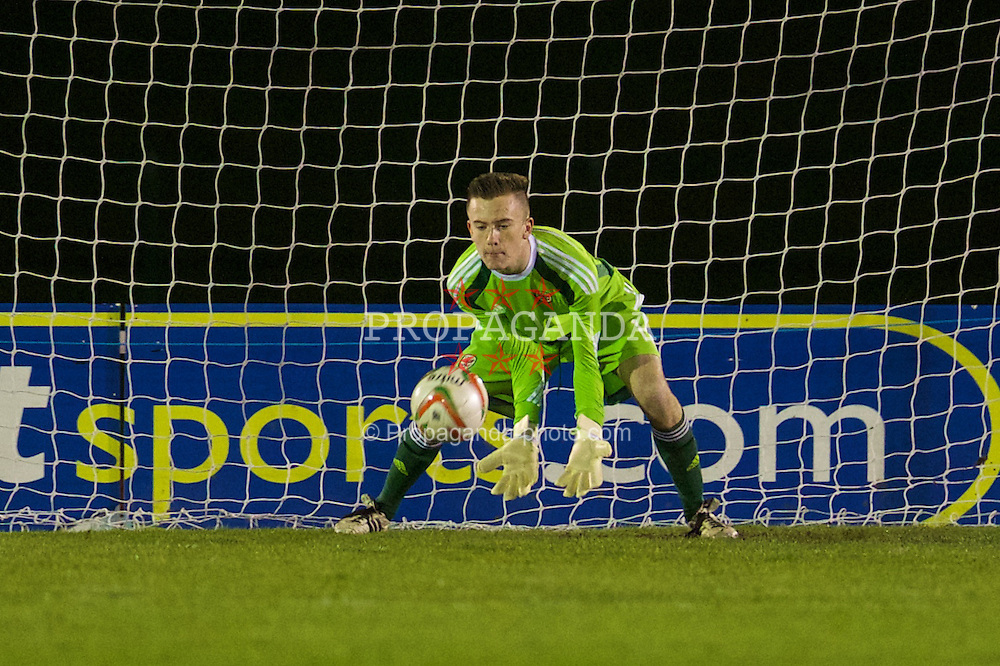 CONNAH'S QUAY, WALES - Thursday, March 20, 2014: Wales' goalkeeper Scott Coughlin in action against Poland during the Under-15's International Friendly match at the Deeside Stadium. (Pic by David Rawcliffe/Propaganda)