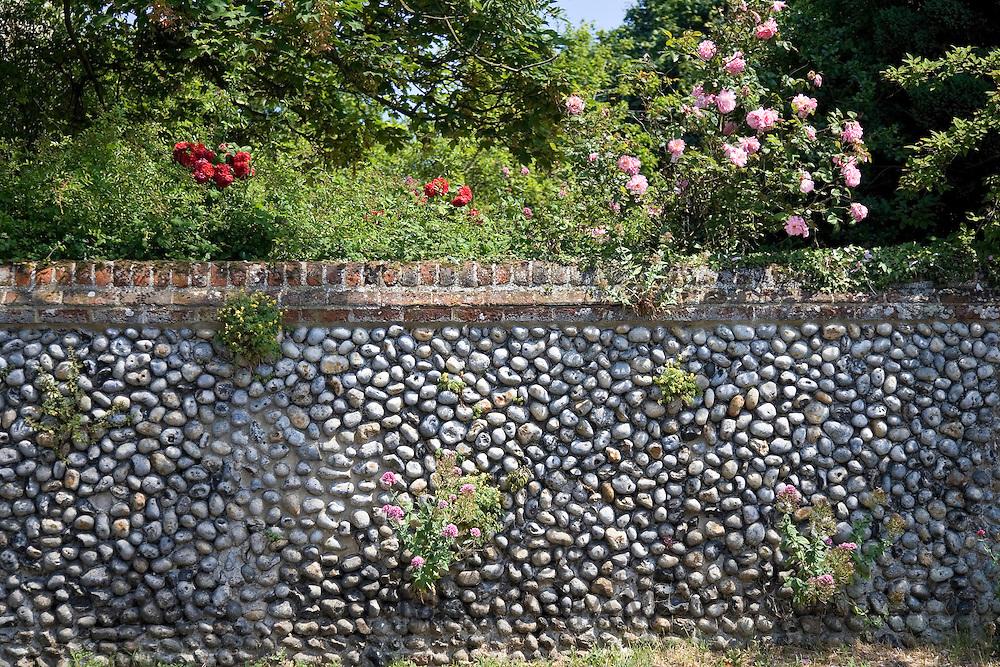 Brick and flint wall in Happisburgh, Norfolk, United Kingdom
