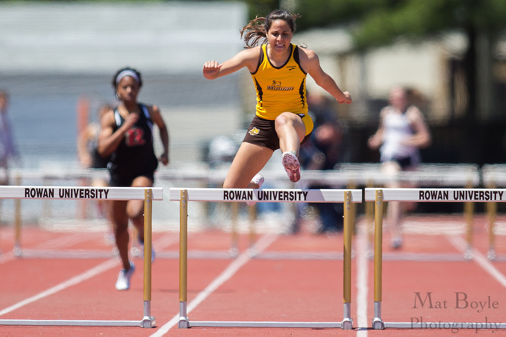 Rowan University's Francesca Contino competes in the women's 400 meter hurdles at the NJAC Track and Field Championships at Richard Wacker Stadium on the campus of  Rowan University  in Glassboro, NJ on Sunday May 5, 2013. (photo / Mat Boyle)