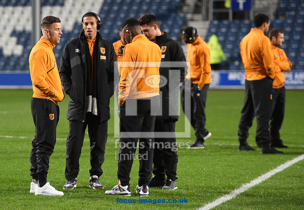 Players of Hull City walk the pitch prior to the Sky Bet Championship match at the Loftus Road Stadium, London<br /> Picture by Daniel Hambury/Focus Images Ltd +44 7813 022858<br /> 01/01/2016