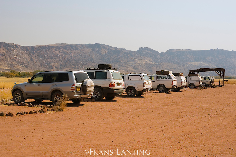 Parking lot, visitor center, Twyfelfontein World Heritage Site, Aba Huab Conservancy, Damaraland, Namibia