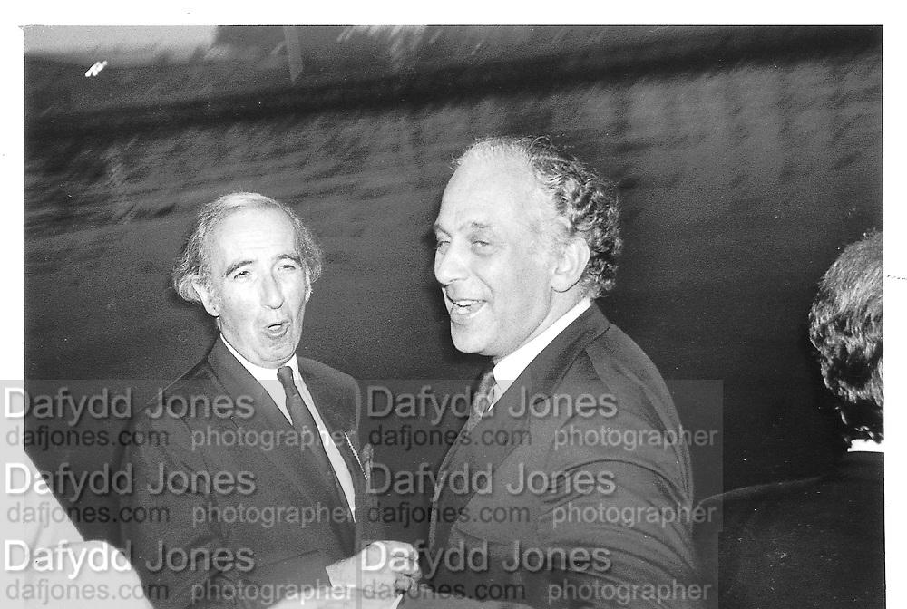 Evelyn de Rothschild, Norman st. John, Steven 1985 approx© Copyright Photograph by Dafydd Jones 66 Stockwell Park Rd. London SW9 0DA Tel 020 7733 0108 www.dafjones.com