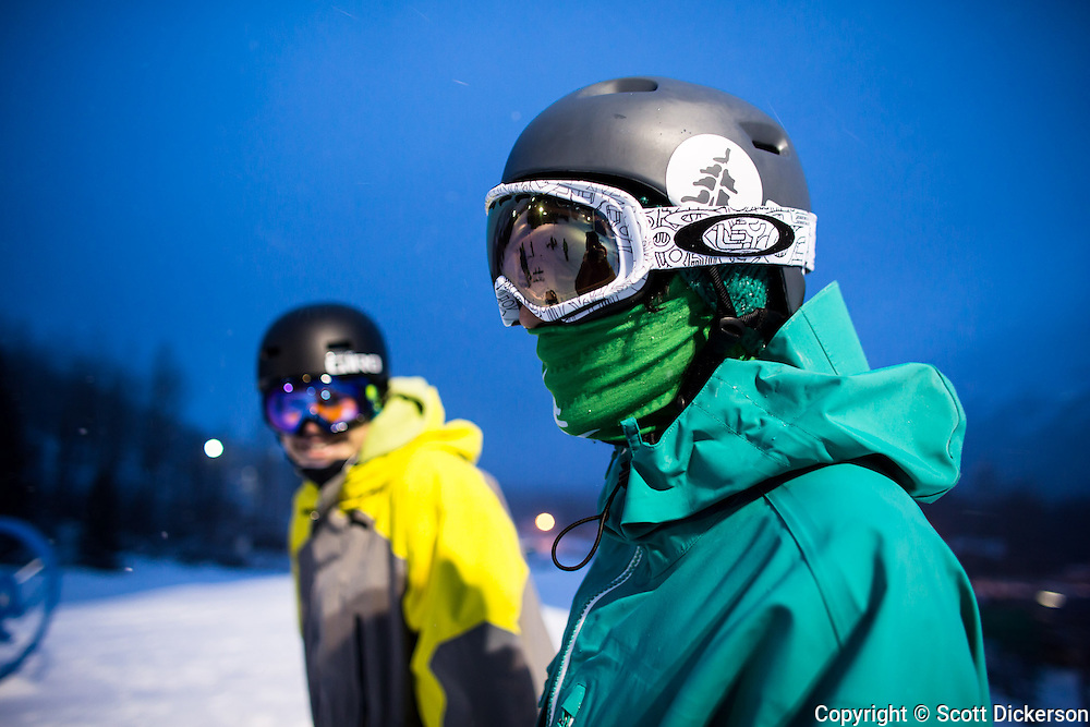 Luke Tanaka and Max Durtschi  before hitting the jump at Alyeska Resort, Girdwood, Alaska.