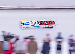 20.01.2019, Olympia Eiskanal, Innsbruck, AUT, BMW IBSF Weltcup Bob, Igls, Herren Viersitzer, 2. Lauf, im Bild Pilot Yunjong Won mit Donghyun Kim, Jinsu Kim, Jeahan Oh (KOR) // Pilot Yunjong Won with Donghyun Kim Jinsu Kim Jeahan Oh of Korea in action during the 2nd run of men's four-man Bobsleigh of the BMW IBSF Bob World Cup at the Olympia Eiskanal in Innsbruck, Austria on 2019/01/20. EXPA Pictures © 2019, PhotoCredit: EXPA/ Johann Groder