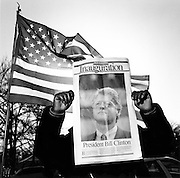 Front page of Washington Times newspaper, with portrait of Bill Clinton, at his first inaugural parade in Washington DC.