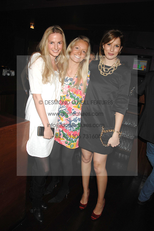 Left to right, EUGENIE WARRE, MARTHA WARD and ALEXANDRA FINLAY at a party to celebrate Imogen Lloyd Webber's 30th birthday and the launch of her Single Girl's Guide held at Vilstead, 9 Swallow Street, London on 27th March 2007.<br />