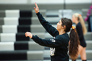 Vale senior Millie Padilla warms up before the start of the 2015 OSAA 3A Volleyball State Championship, Round 1, Vale - St. Mary's at  Vale High School, Vale, Oregon. October 31, 2015.<br /> <br /> Vale defeated St. Mary's of Medford in three games 25-10,  25-8, 25-13, improving their season record to 24-2.