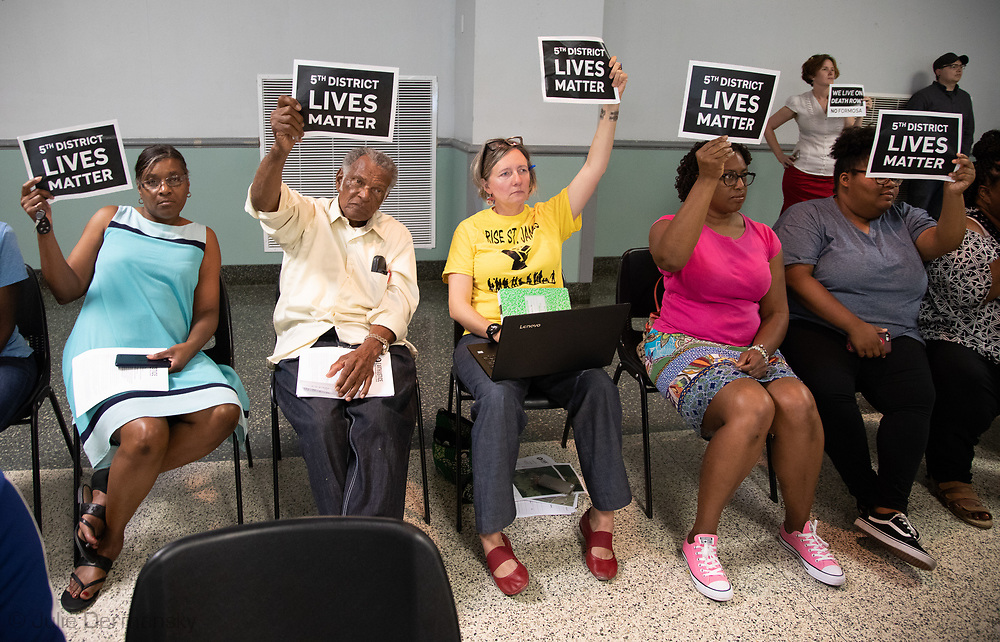 Anne Rolfes, founder of the Louisiana Buckbrigade with St. James Parish residents at the Louisiana's Department of Environmental Quality's  public hearing on whether to approve the 15 air permits for Taiwanese company Formosa Plastics in Vacherie, LA. on July 9, 2019.