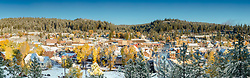 """Downtown Truckee 38"" - Stitched panoramic photograph of Historic Downtown Truckee with Fall colors and a little fresh snow."