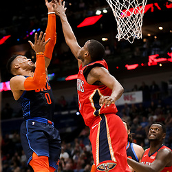 Feb 14, 2019; New Orleans, LA, USA; Oklahoma City Thunder guard Russell Westbrook (0) shoots over New Orleans Pelicans forward Darius Miller (21) during the first quarter at the Smoothie King Center. Mandatory Credit: Derick E. Hingle-USA TODAY Sports