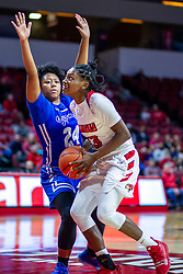 NORMAL, IL - January 03:  Juliunn Redmond heads for the hoop defended by Jasmine Elderduring a college women's basketball game between the ISU Redbirds and the Sycamores of Indiana State January 03 2020 at Redbird Arena in Normal, IL. (Photo by Alan Look)