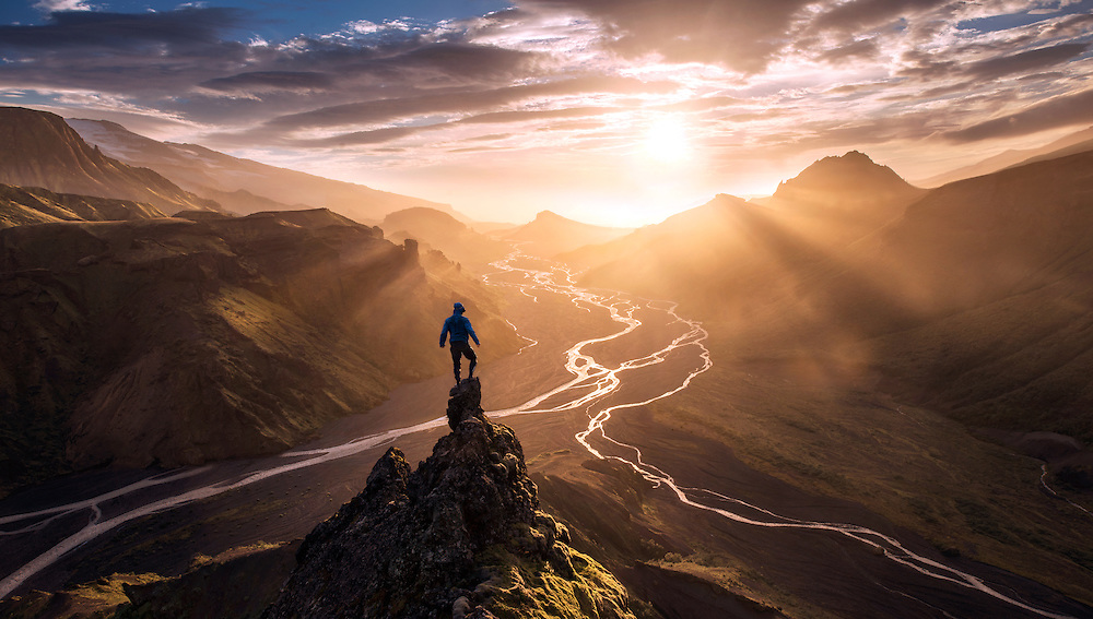 A selfportrait in Thorsmork, Iceland during a misty sunset, adventure.