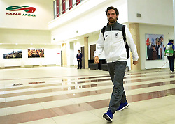 KAZAN, RUSSIA - Thursday, November 5, 2015: Liverpool's Joe Allen arrives before the UEFA Europa League Group Stage Group B match against FC Rubin Kazan at the Kazan Arena. (Pic by Oleg Nikishin/Propaganda)