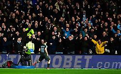 Sergio Aguero of Manchester City celebrates with fans after scoring his sides second goal - Mandatory by-line: Alex James/JMP - 23/01/2018 - FOOTBALL - Ashton Gate Stadium - Bristol, England - Bristol City v Manchester City - Carabao Cup Semi Final second leg