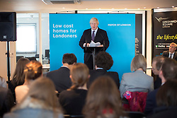 © licensed to London News Pictures. London, UK 25/11/2013. Mayor of London, Boris Johnson giving a speech on tackling London's housing needs on Monday, November 25, 2013 in Greenwich Square, London. Photo credit: Tolga Akmen/LNP