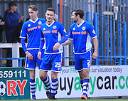 Joe Bunney congratulated by Michael Rose and Joe Rafferty 4-1 during the Sky Bet League 1 match between Rochdale and Southend United at Spotland, Rochdale, England on 25 March 2016. Photo by Daniel Youngs.