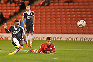Picture by Richard Land/Focus Images Ltd +44 7713 507003<br /> 27/08/2013<br /> Emmanuel Mayuka of Southampton fires in their third goal during the Capital One Cup match at Oakwell, Barnsley.
