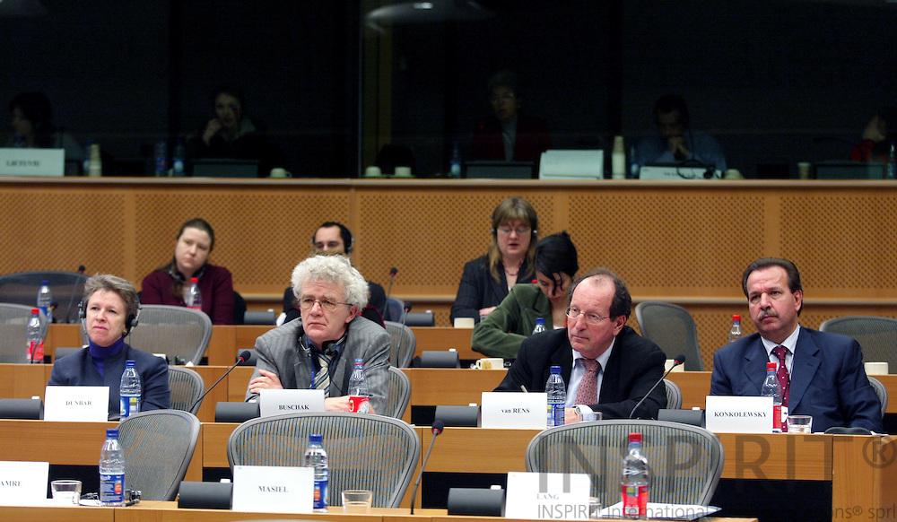 BRUSSELS - BELGIUM - 18 JANUARY 2005 --From left Muriel DUNBAR, ETF Director, Willy BUSCHAK, Acting  Director for Eurofound, Johan van RENS, Director Cedefop, and Hans-Horst KONKOLEWSKY, Director of EU-OSHA, at the Committee on Employment and Social Affairs meeting in the EU Parliament. -- PHOTO: ERIK LUNTANG /  INSPIRIT