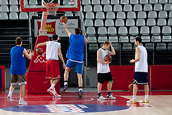 Players during practice session of basketball club KK Union Olimpija day before Euroleague Top 16 Round Match vs Lottomatica Roma, on January 19, 2011 in Arena PalaLottomatica, Rome, Italy. (Photo By Vid Ponikvar / Sportida.com)