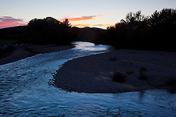 The Swift River in New Hampshire's White Mountains.  Albany, New Hampshire. Sunset. Fall.