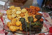 Deep fried vegetables -  cauliflower, pumpkin and  spinach