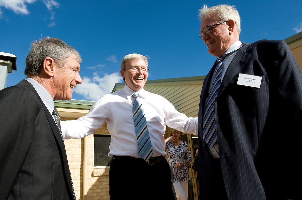 Seven Network chairman Kerry Stokes with Prime Minister Kevin Rudd and Wilson Tuckey (Member for O'Connor) at the Teen Challenge Grace Academy, a residential rehabilitation and detox centre in Esperance.