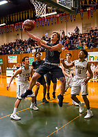 during the first quarter as the Placer Hillman host the Liberty Ranch Hawks Varsity basketball team in the DIV NorCal boys quarterfinal, Saturday Mar 10, 2018.  <br /> photo by Brian Baer